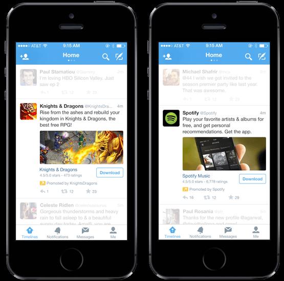 تبلیغات نصب اپلیکیشن در توئیتر