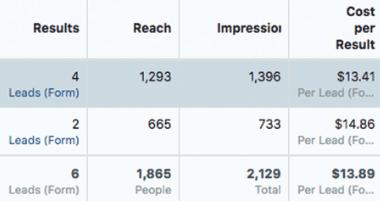 گزارش عملکرد کمپین تبلیغات در فیس بوک CPL افزایش لید فروش ماه اول